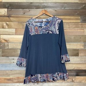 Discount Divas Bell Sleeve Patterned Blouse - 1X
